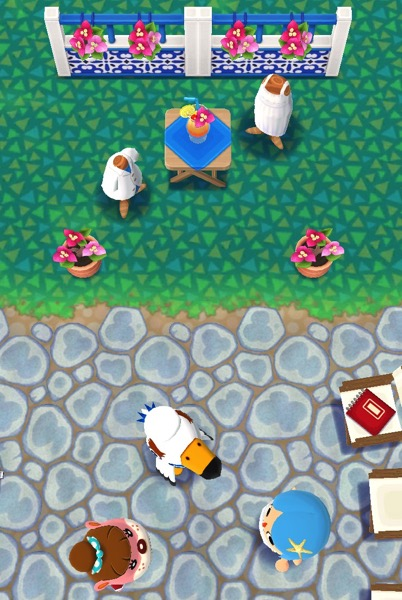 An above view of a Pocket Camp class that uses items from Gulliver's Port Resort