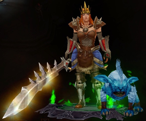 A female barbarian wears a crown and a mix of armor, including pants that provide proper coverage. She carries a huge sword. A dog-like creature stands near her.