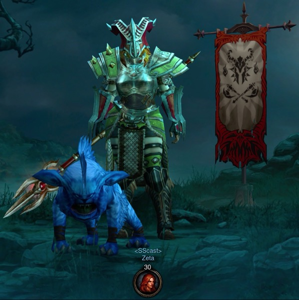 A female barbarian is covered in mostly matching armor. She carries a pike weapon. A dog-like creature stand near her. A banner is in the background.