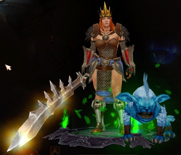A female Barbarian wears a crown and armor that almost matches. Her expression implies she would like better pants. She carries a huge sword. A blue dog-like creature stands near her.