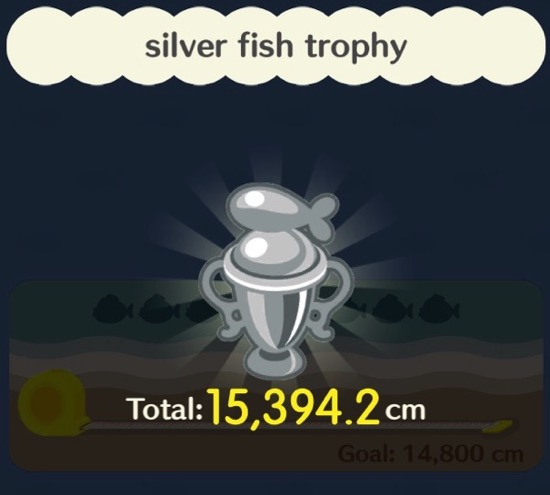 A bright and shiny silver fishing trophy. It has a fish on the top of it.