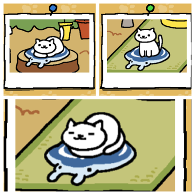 Snowball is a white cat. First image - Snowball rests on a Manta gel mat. Second image - Snowball stands on a Manta Gel Mat. Third image - Snowball sleeps with her feet tucked under her on the Manta Gel Mat.
