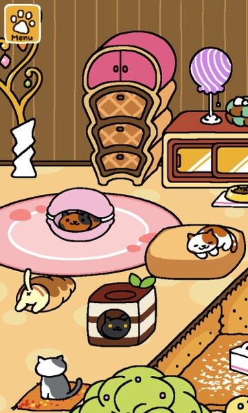Two cats napping on beds. One is looking out of a bed. Another is halfway inside a treat. One more cat sits on a pillow.