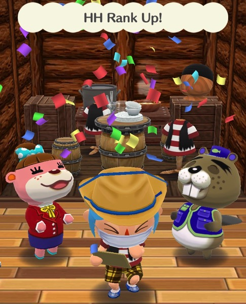 My Pocket Camp character holds a clipboard and making a face. The other two animal friends are smiling. Confetti rains down upon them.