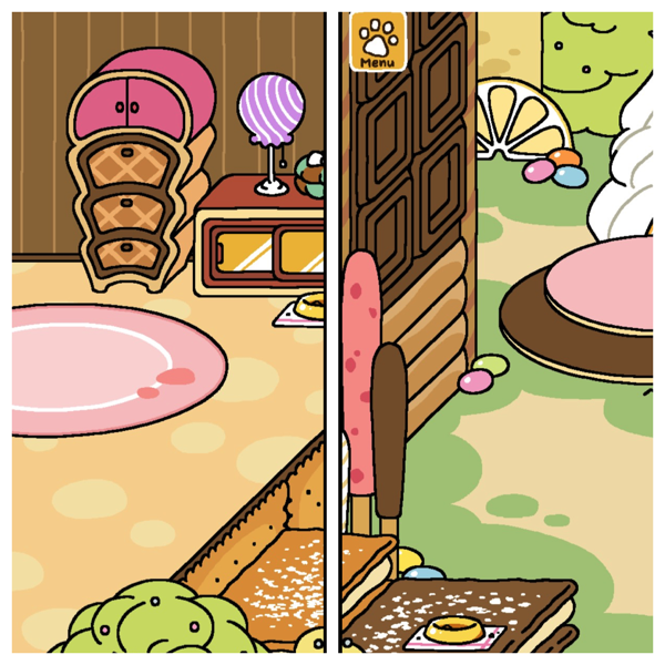 Inside of the home on one side, outside in the yard on the other. The entire area is made up of sugary treats.