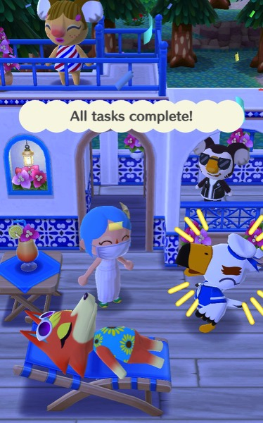 Gulliver is laughing. Three other Pocket Camp friends are using different items in the Post Resort.