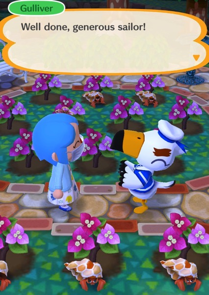 """My pocket camp character is in their garden. Gulliver says: """"Well done, generous sailor!"""""""