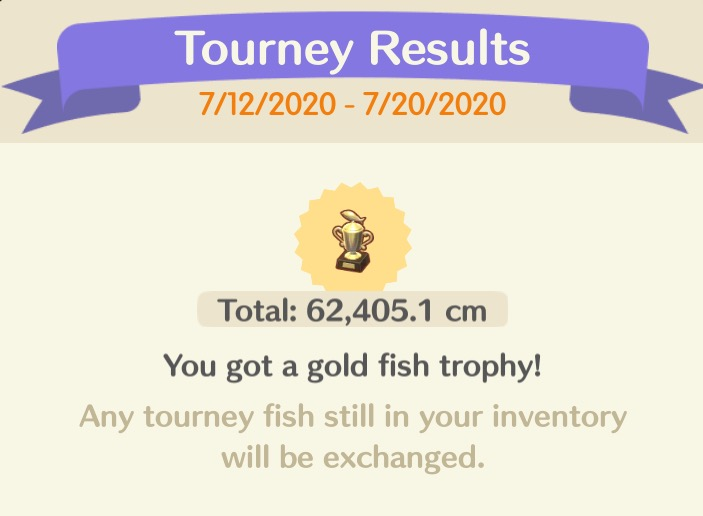 An announcement that the Fishing Tourney has ended. I earned a gold fish trophy.