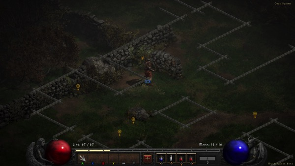 My Barbarian is standing inside the outline of an map that overlays the scenery.
