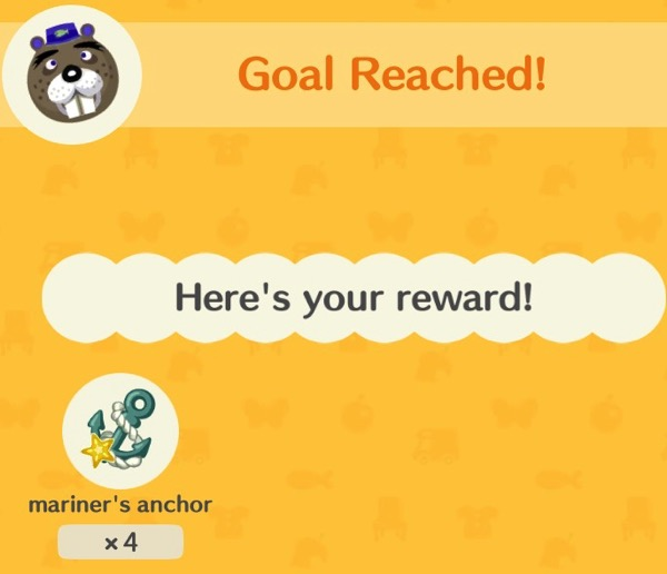 """Chip's head is at the top of the screenshot next to words that say """"Goal Reached!"""" Below him is a small image of a mariner's anchor."""
