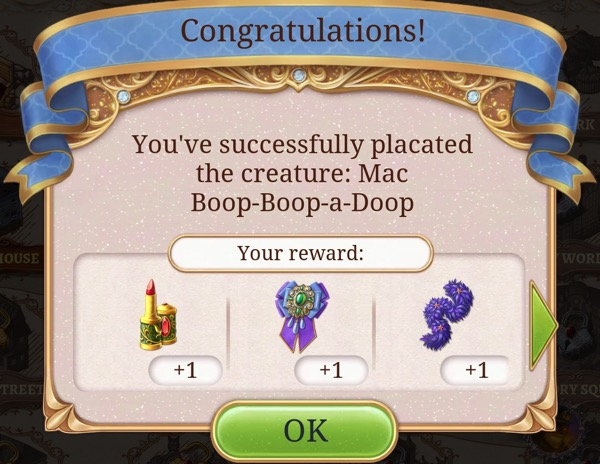 """A box says: """"You've successfully placated the creature: Mac Boop-Boop-a-Doop."""