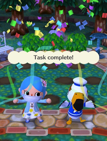 """My pocket camp character next to Gulliver. Confetti falls from the sky. It says """"Task complete!"""""""