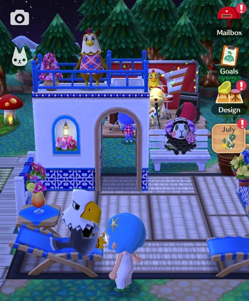 Post resort items in my campsite at night.