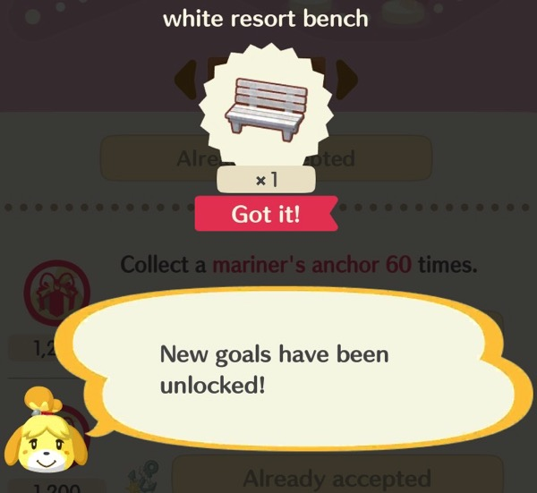 This screenshot has has a small picture of a white resort bench. Below it is Isabelle, letting the player know new goals have been unlocked!