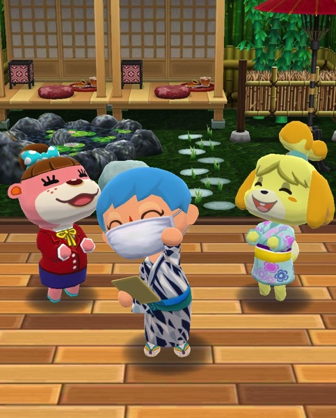 My Pocket Camp character successfully completed Creek Cooldown 2 class. They stand between Lottie and Isabelle. The items for the class are behind them.
