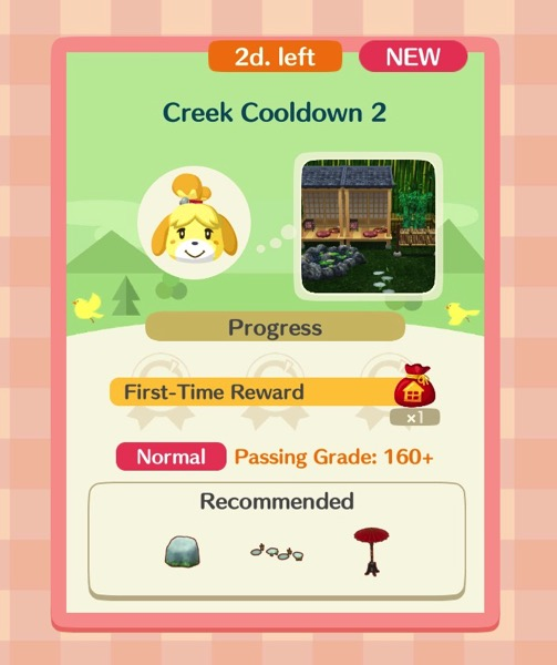 Isabelle's head appears next to a small image of what Creek Cooldown 2 looks like. Below it is a box with three items in it.