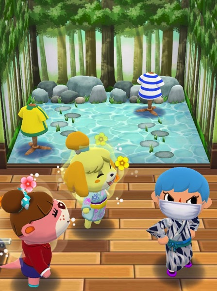My Pocket Camp character has successfully completed the Creek Cooldown class. They stand next to Lottie and Isabelle.