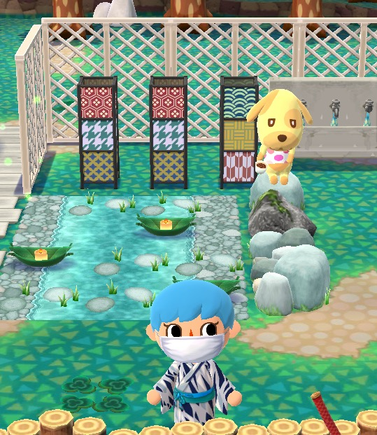 My Pocket Camp character is wearing a kimono with black, white, and grey stripes. Behind her is a flowing river rug that has two bamboo boats with lit candles floating in it. Many stepping stones are in the water. Three lanterns are behind it.