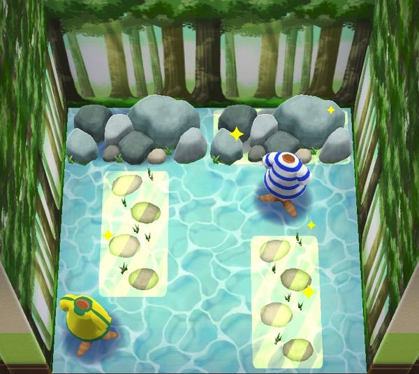 An overhead view of a room where three items are highlighted. One is a grouping of rocks. The other two are rocks that are step stones.