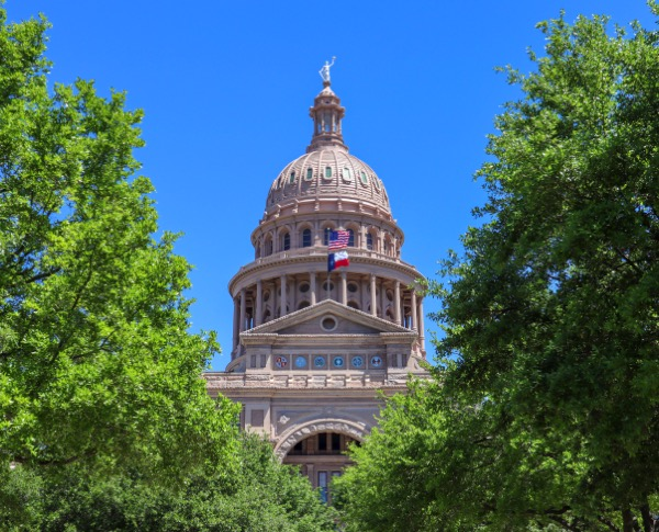Photo of the dome of the Texas Capitol, surrounded by trees. Photo by Clark Van Der Beken on Unsplash