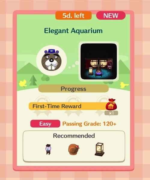 Elegant Aquarium is the first class that connects to the Fishing Tourney (Goldfish) event. A box shows three items that are required.