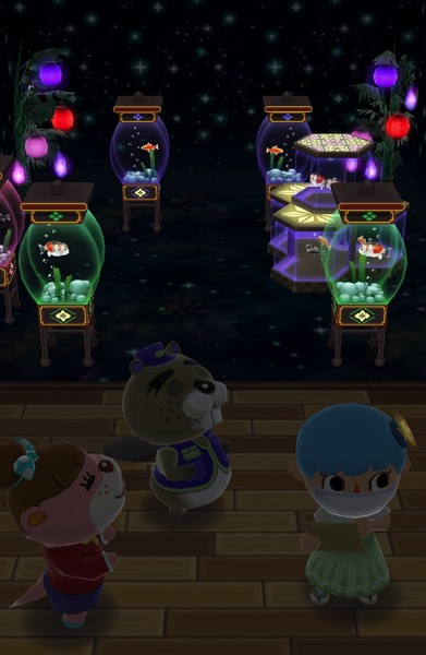 My Pocket Camp character is wearing a fancy green dress. She stands near Chip and Lottie.
