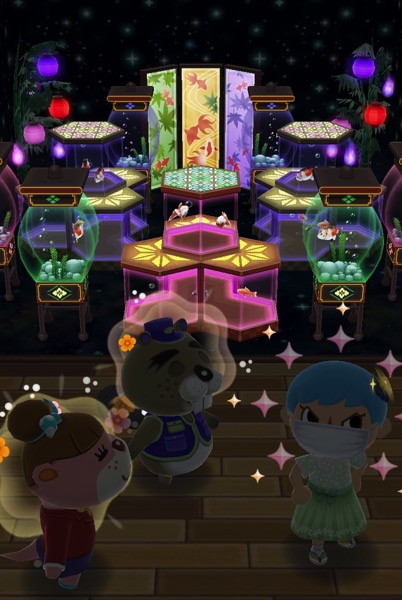 My Pocket Camp character standing with Chip and Lottie in front of a room full of glowing aquariums.