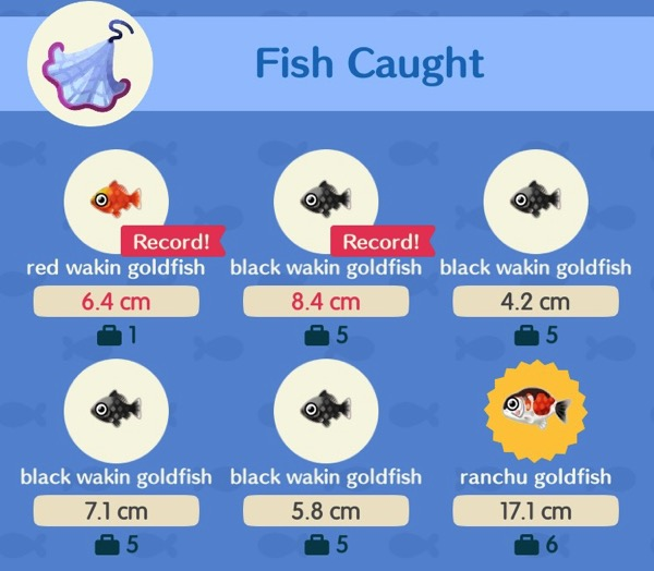 I used a Fishing Tourney net to collect several types of goldfish at the same time.