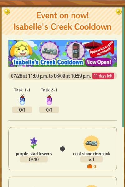 A sign that announces Isabelle's Creek Cooldown event. It shows two kind of bugs that player must pick off of special flowers.