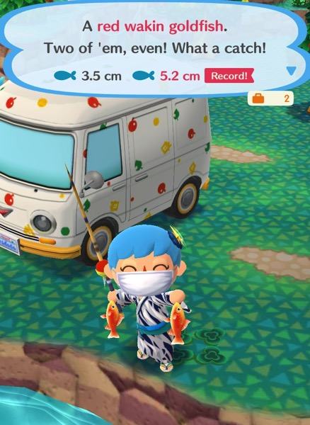 My Pocket Camp character holds up two red and orange colored goldfish