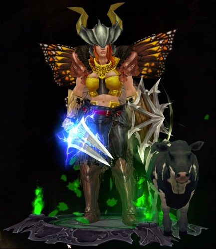 A Barbarian wears a horned helmet and butterfly wings. She has brand new, black, pants. Her sword shoots lightning and her shield has spikes. Next to her is a small calf.