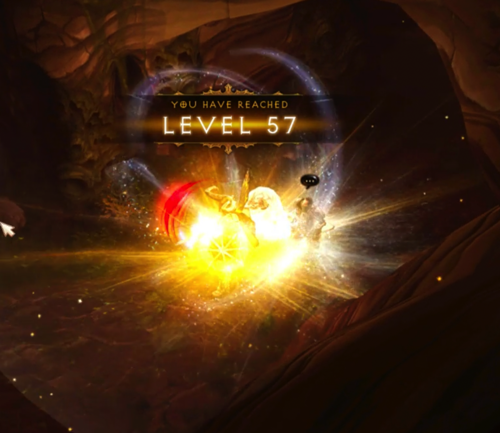 """A screenshot from Diablo III says """"You have reached Level 57!"""" Below it is a Barbarian who is surrounded by light."""