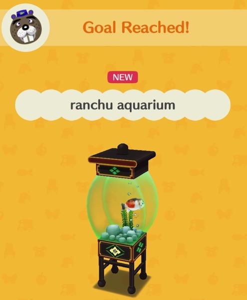 An aquarium with green tinted glass holds a fat ranchu goldfish that is white with orange and black spots. It also holds rocks, a plant, and bubbles.