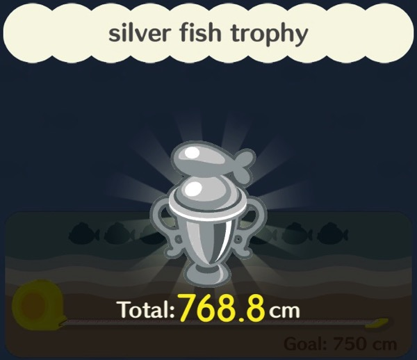 A fishing trophy made of silver. It has a stylized fish on top of it.