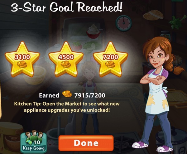 Pepper stands next to three gold stars. Each start shows a certain amount of gold that the player has earned.