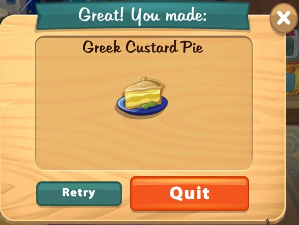 A thick slice of Greek Custard Pie sits on a plate.