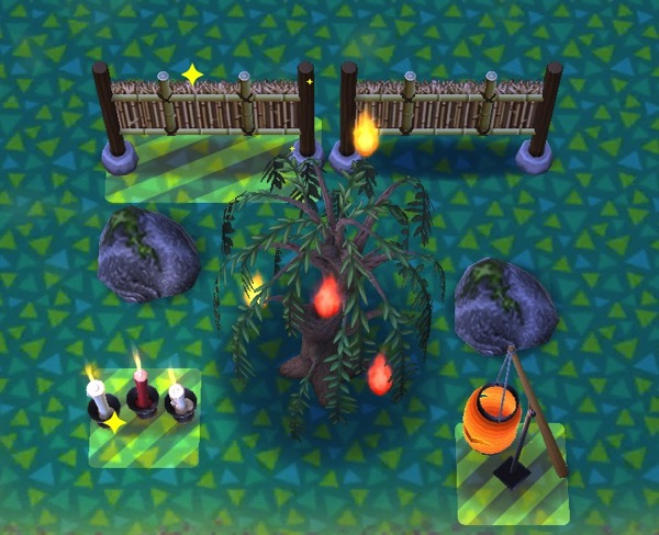 The highlighted areas show where the player needs to place the necessary items.