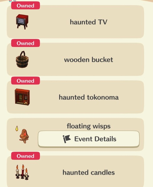A box shows three of the Haunted Scavenger Hunt items. It also includes one that costs Leaf Tickets, and another that can be crafted.
