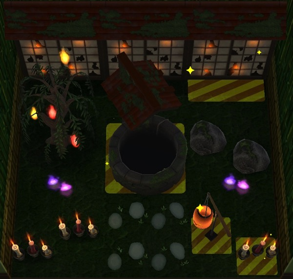The highlighted items are ones that the player needs to put into the room. This room is dark to highlight the items that glow.