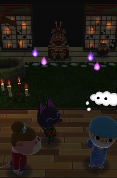 This class in done in the dark, to feature the items that glow. This time, the room is located outside at night. Lottie and Kiki stand near my Pocket Camp character, who is thinking hard about how to pass this class.