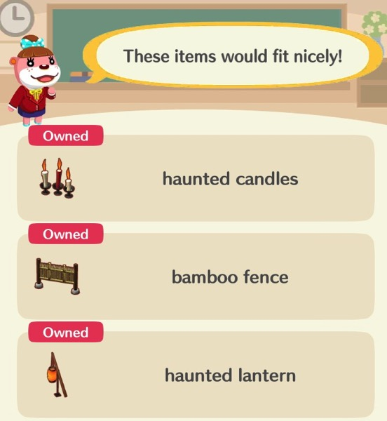 Lottie shows the player the three items they need in order to pass this class.