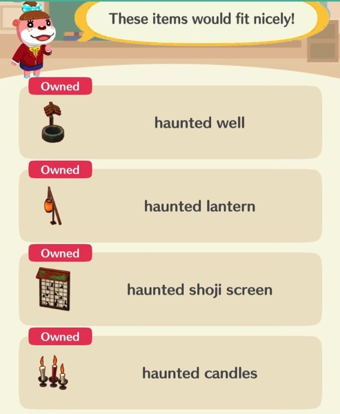 Lottie points out the list of event items that the player needs to have in order to pass this class.