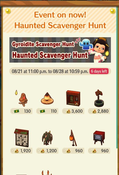 A box that shows most of the Haunted Scavenger Hunt items.