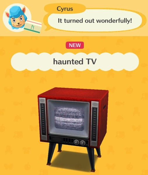A old TV has four legs that hold it up off the ground. The cabinet around it is red. There are buttons on each side of the screen. The tiny screen is showing static. This TV is haunted.