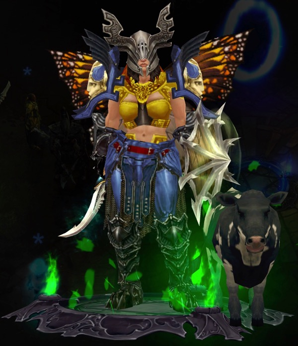 A Barbarian wears some pieces of the Immortal Kings set. She wears butterfly wings, and carries a shield with spikes and a reasonably sized weapon. A small calf stands near her.
