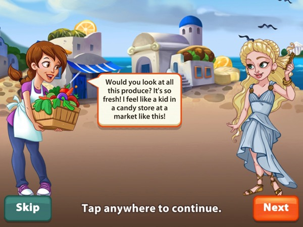 Pepper is the player character in Kitchen Scramble. She holds a box full of produce. She is speaking to a blond woman who is wearing a classic Greek dress.