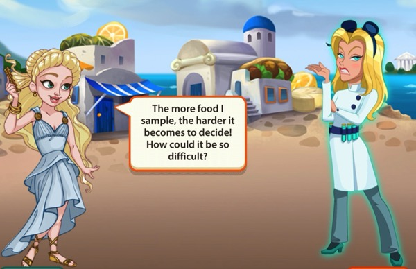 Goddess of Love tells Candace she is having trouble deciding about food.