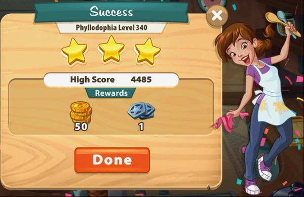 Pepper is holding up two spoons. Confetti falls from the sky. The box shows that I earned three stars on Level 340.