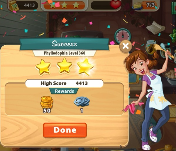 Pepper is holding up two spoons. Confetti falls down over her. The box next to her shows three gold stars. At the top of the screenshot, it shows that I have served 7 Greek Custard Pies.