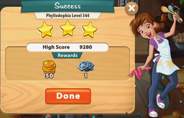 Pepper is holding up two spoons. Confetti drops down from above.The box shows I got three stars in Level 344.